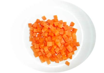 Salted carrot dice cut